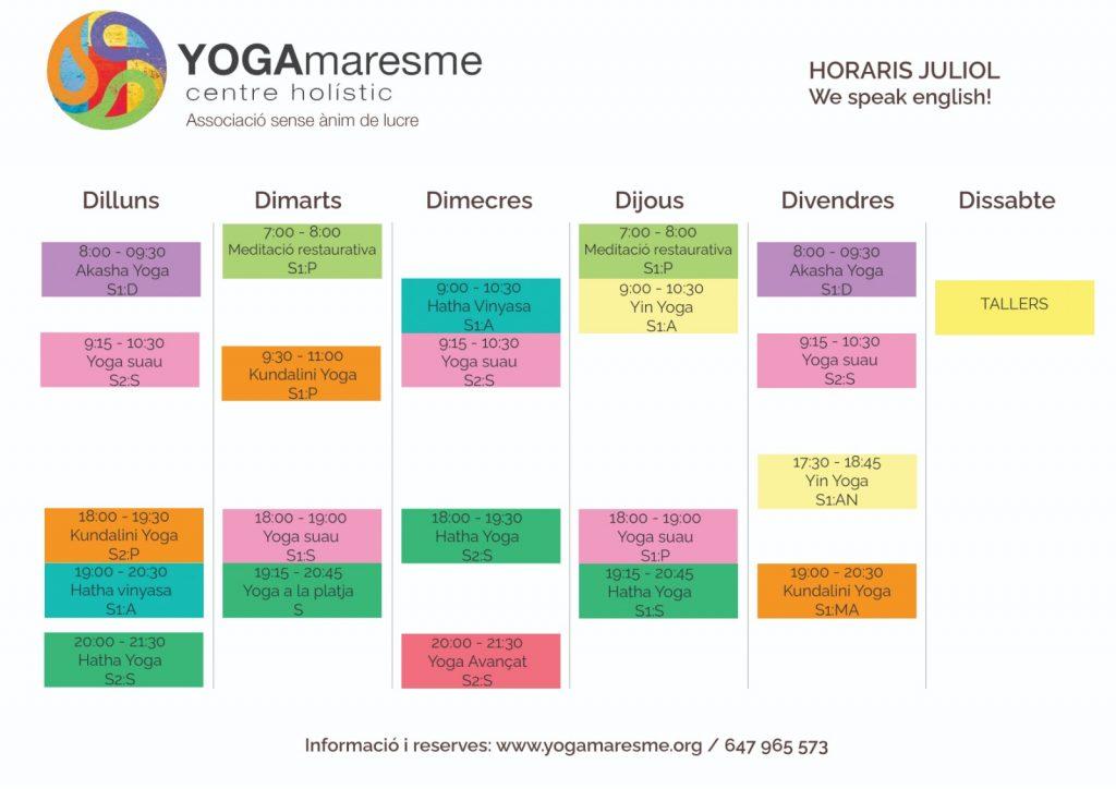 horaris juliol yoga maresme